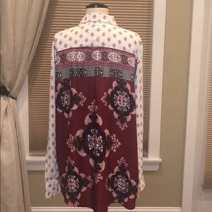 Nwot Style & Co Ivory Red Printed Button Shirt